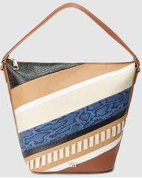 Gloria Ortiz Crossroads Camel Leather Hobo With Patchwork Front - Multicolour