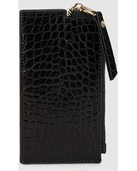 El Corte Inglés Wo Black Mock-croc Purse With Card Holder