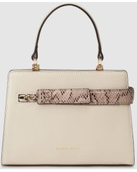 Gloria Ortiz - Love Story Mini Off-white Leather Handbag With Snakeskin Detail - Lyst