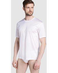 Hanro - White Short Sleeved Mercerised Cotton Vest - Lyst