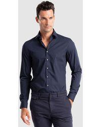 Calvin Klein Camisa De Popelín De Hombre Slim Lisa Azul