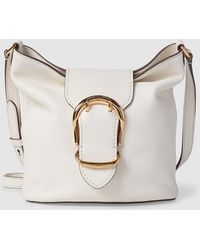 27c570682ceb Lauren by Ralph Lauren - Small White Leather Crossbody Bag With Buckle -  Lyst