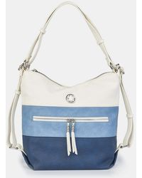 Caminatta Large Blue And White Convertible Hobo Bag/backpack - Multicolor