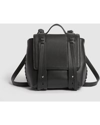 AllSaints Fin Black Leather Mini Backpack With Side Plaiting
