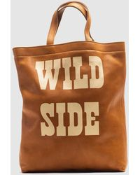 Mercules Tejano Brown Leather Tote Bag With Front Print