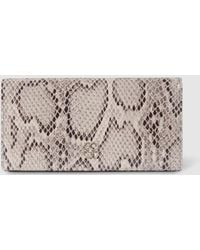 Gloria Ortiz Love Story Medium Beige Snakeskin Effect Leather Wallet With Fastener - Natural