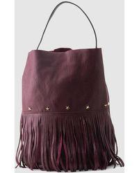 Mercules Racer Bucket Fringes Burgundy Leather Hobo Bag With Fringe - Purple