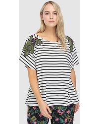 Couchel - Plus Size Striped T-shirt With Embroidery - Lyst