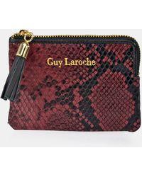 Guy Laroche - Tarjetero De Mujer De Piel Burdeos Con Print Serpiente - Lyst