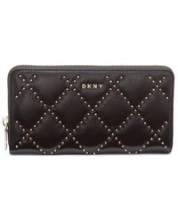 DKNY Large Black Leather Wallet With Gold Studs