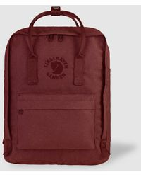 Fjallraven Mochila Re-Kanken De Vinilo Impermeable En Granate Con Logo Bordado - Rojo
