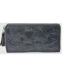 Guy Laroche Large Grey Wallet With Snakeskin Embossing And Zip - Gray