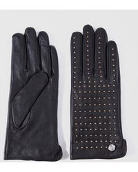 Guess Black Leather Gloves With Golden Studs
