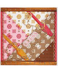 Guess Silk Handkerchief With A Multicoloured Brand Print - Multicolor