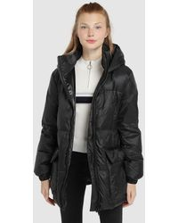 Green Coast Long Hooded Quilted Coat - Black