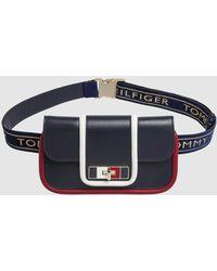 Tommy Hilfiger Navy Blue Leather Belt Bag With Fastener