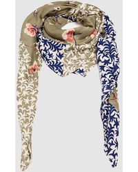 Esprit Green Floral Print Handkerchief With A Contrasting Border