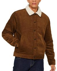 Esprit Mens Camel Corduroy Jacket With Shearling - Brown
