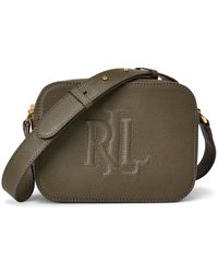 Lauren by Ralph Lauren Hayes Small Khaki Leather Crossbody Bag - Multicolour