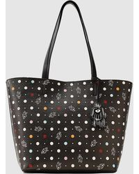 Esprit - Black Grained Texture Shopper Bag With A Polka Dot And Dog Print - Lyst