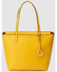 Lauren by Ralph Lauren - Medium Yellow Tote Bag With Zip - Lyst