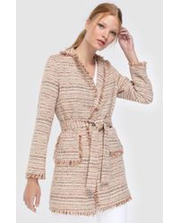 Yera - Coat With Belt And Decorative Fringe - Lyst