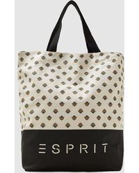 Esprit - Beige Canvas Tote Bag With All-over Print - Lyst