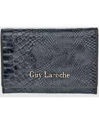 Guy Laroche - Small Grey Wallet With Snakeskin Embossing - Lyst