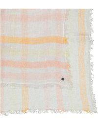Esprit White Linen Handkerchief With Orange Stripes
