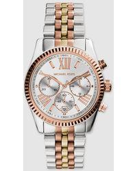 Michael Kors Lexington Tri Tone Stainless Steel Women's Watch - Metallic