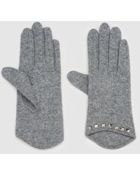 El Corte Inglés Gray Wool Gloves With Studs
