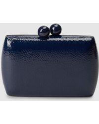 El Corte Inglés Navy Blue Wrinkled Faux Patent Leather Evening Clutch