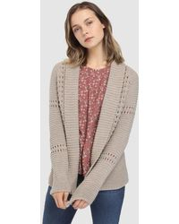 indi & cold - Chunky Knit Cardigan With Openwork - Lyst