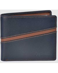 Guy Laroche Navy Blue And Brown Leather Wallet - Multicolor