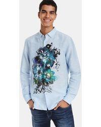 Desigual - Regular-fit Blue Printed Shirt - Lyst