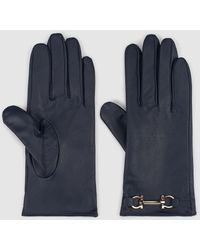 El Corte Inglés Navy Blue Leather Gloves With Chain