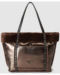 Pepe Moll - Large Bronze Tote Bag With Matching Fur - Lyst