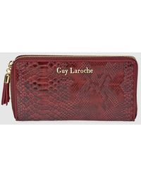 Guy Laroche Large Burgundy Wallet With Snakeskin Embossing And Zip - Multicolor