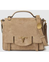 Polo Ralph Lauren - Camel-coloured Cowhide Leather Handbag With Front Fastener - Lyst