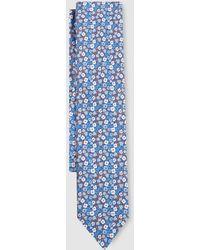 Mirto - Indigo Blue Silk Tie With Flowers - Lyst