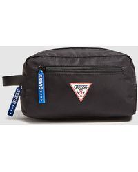 Guess Black Toiletry Bag With Zip And Side Handle