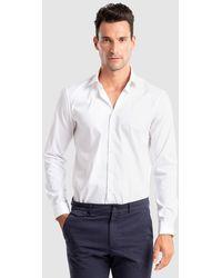 Calvin Klein Camisa De Popelín De Hombre Slim Lisa Blanca - Blanco