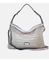 Robert Pietri Beige Hobo Bag With Mock-croc Embossing And Long Detachable Strap - Natural