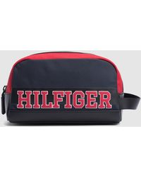8238163c452f Tommy Hilfiger - Navy Blue Toiletry Bag With Brand Detail On The Front -  Lyst