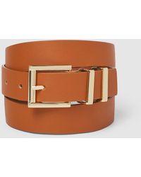 El Corte Inglés Classic Camel Belt With Double Metal Loop - Brown