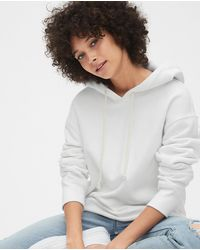 Gap Wo Hooded Sweatshirt With A Raw-cut Hem - White