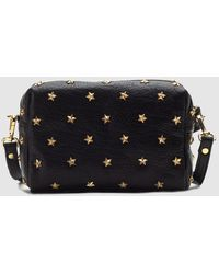Mercules Small Black Leather Crossbody Bag With All-over Stars