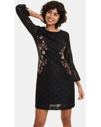 Desigual Floral Print Dress With 3/4 Length Sleeves - Black