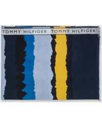 Tommy Hilfiger - Blue Striped Cotton Foulard - Lyst