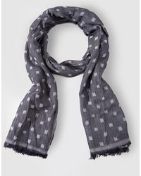 Armani Jeans Navy Blue Jacquard Foulard With Contrasting Checks